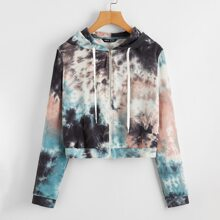 Tie Dye Zipper Up Hooded Jacket