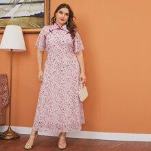 Vestidos Tallas Grandes Boton floral de margarita Bebe Rosa Elegante