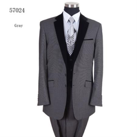 Two Tones Tuxedo Black Lapeled Vested Tuxedo Formal Dinner Suit Gray