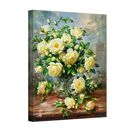 Brushstone Princess Diana Roses in a Cut Glass Vase Gallery Wrapped Canvas Wall Art, One Size , Green