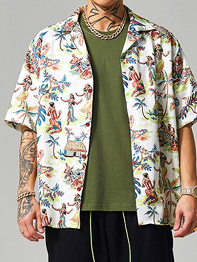 Ericdress Color Block European Print Loose Men's Shirt