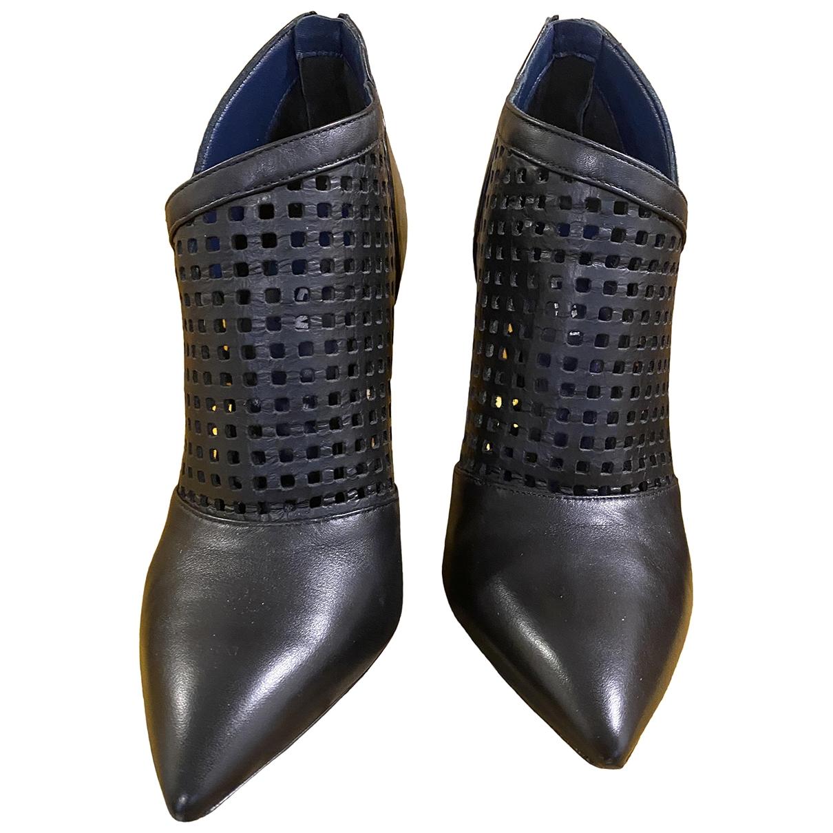Pollini - Boots   pour femme en cuir - noir