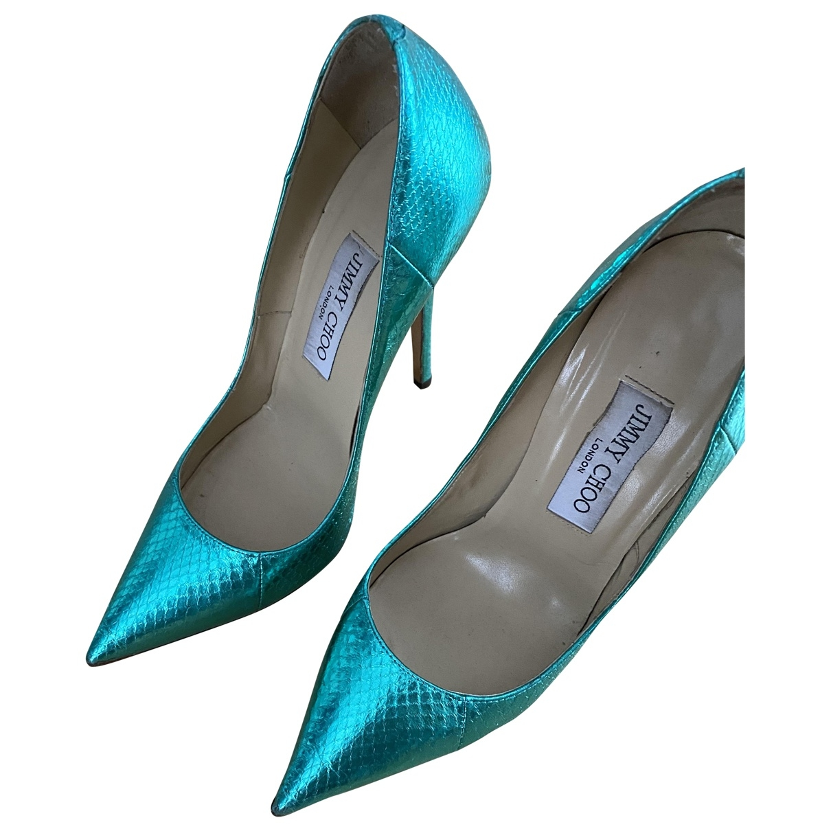 Jimmy Choo Anouk Green Leather Heels for Women 36 EU