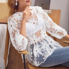 Sheer Floral & Dobby Mesh Peplum Top Without Bra