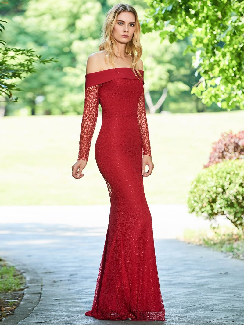Ericdress Off the Shoulder Red Lace Evening Dress