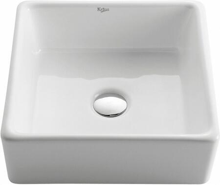 CKCV1201002SN White Ceramic Series Sink and Faucet Bundle with Square Ceramic Vessel Sink and Sheven Faucet  Satin Nickel