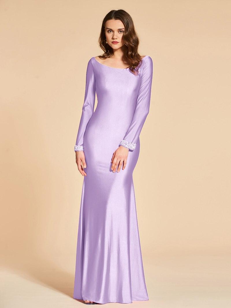 Ericdress Mermaid Bateau Neck Beaded Long Sleeve Evening Dress