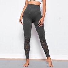 Sports Leggings mit Ose und breitem Taillenband