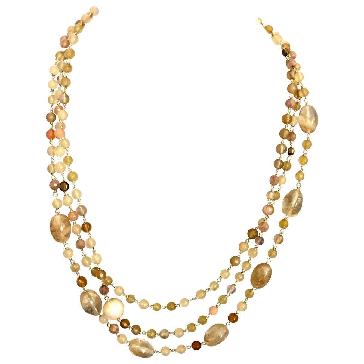 - Collier Agate pour femme en perles - jaune