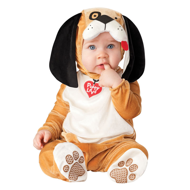 Dog Shaped Ears Decoration Polyester Yellow Baby Costume