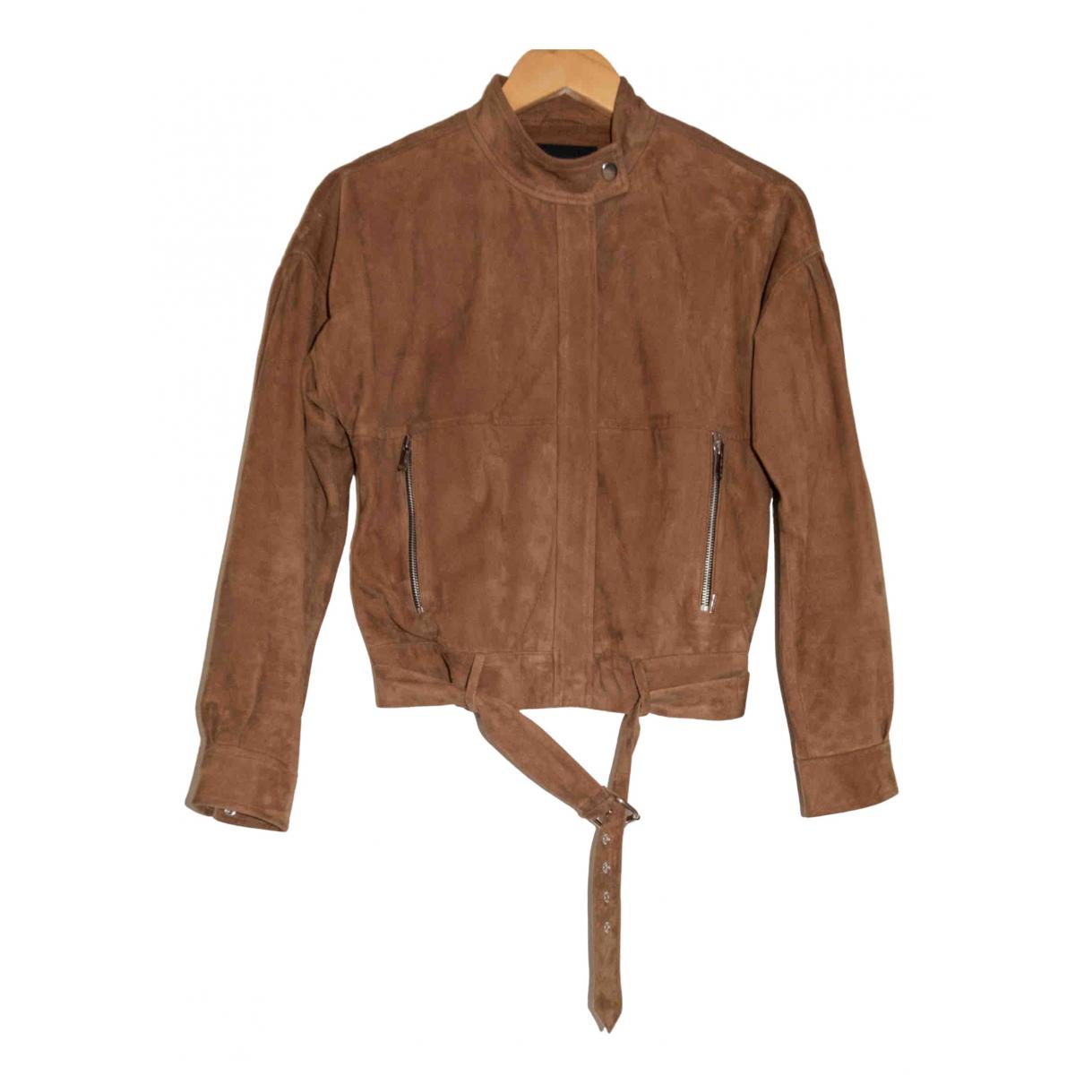 Ikks N Beige Suede Leather jacket for Women XS International