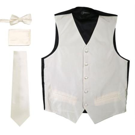 Mens 4PC Big and Tall Vest & Tie & Bow Tie and Hankie Champagne