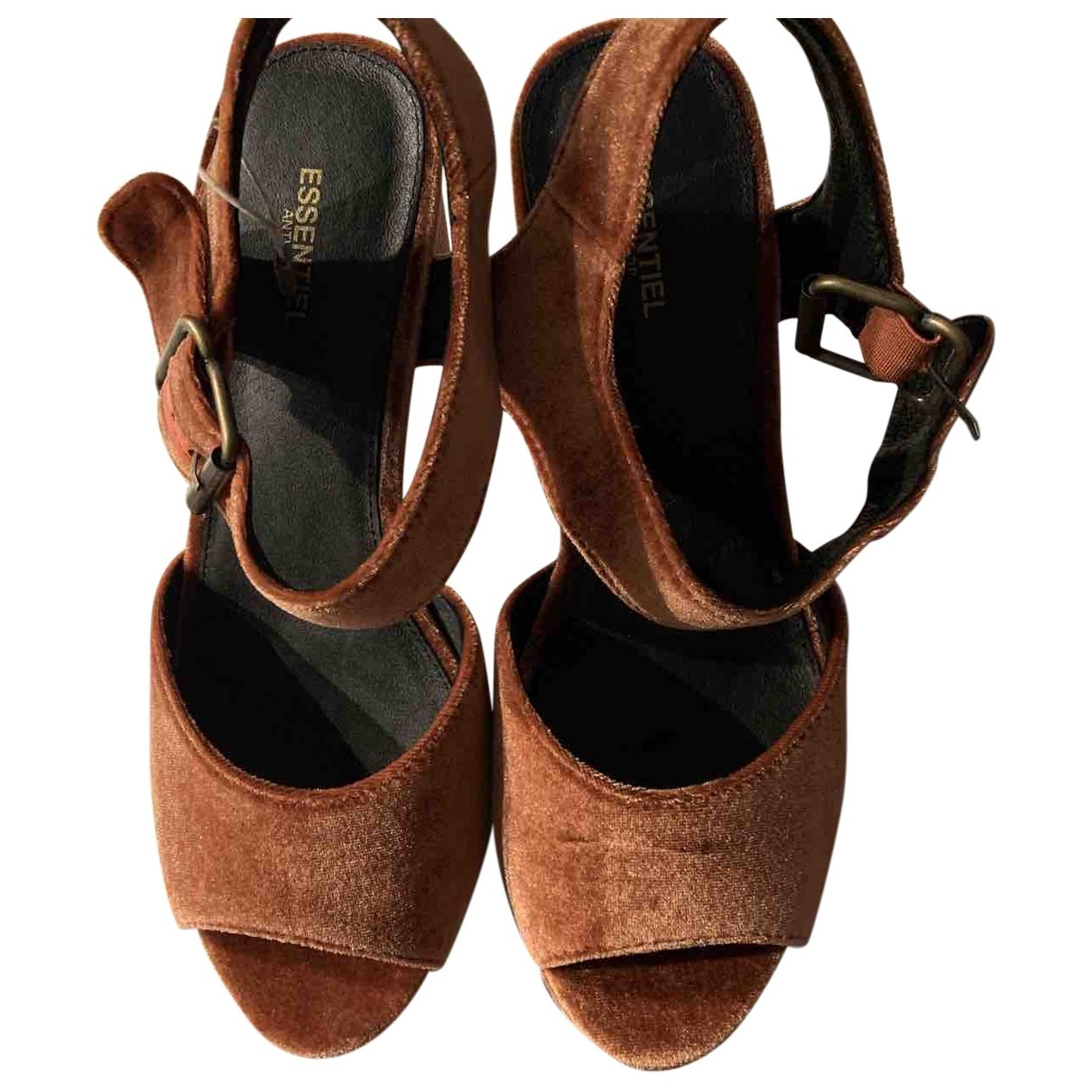 Essentiel Antwerp \N Brown Velvet Sandals for Women 39 EU