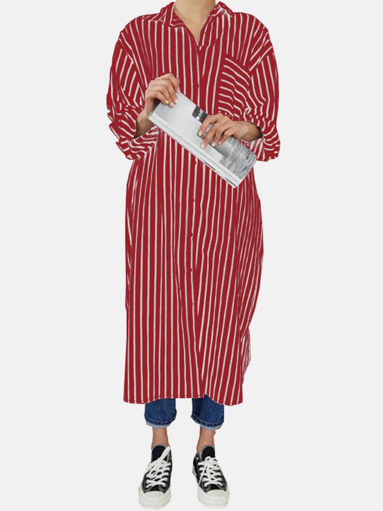 Striped Turn-down Collar Chest Pocket Casual Shirt Dress