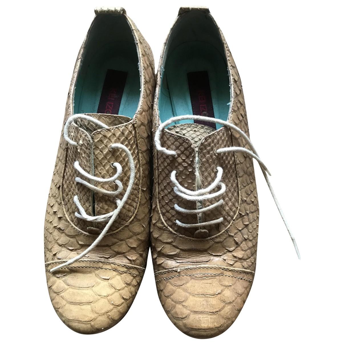 Kenzo \N Beige Leather Lace ups for Women 36 EU