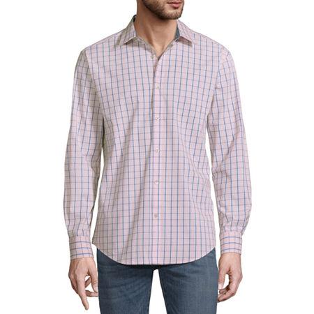 Axist Mens Long Sleeve Plaid Button-Down Shirt, Medium , Pink