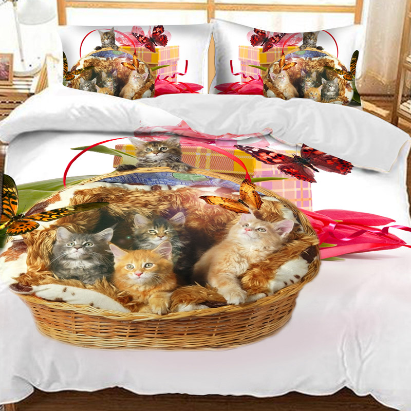 A Basket Of Kittens And A Red Butterfly Printed Polyester 3-Piece Bedding Sets/Duvet Covers