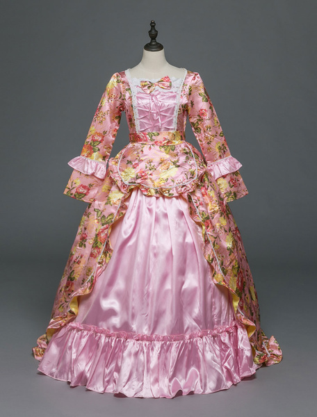Milanoo Victorian Dress Costume Women's Rococo Pink Victorian Masquerade Ball Gowns Royal Long Sleeves Retro Costume