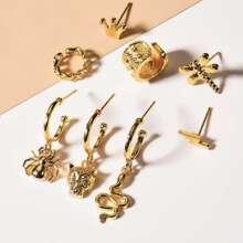 8pcs Animal Design Earrings