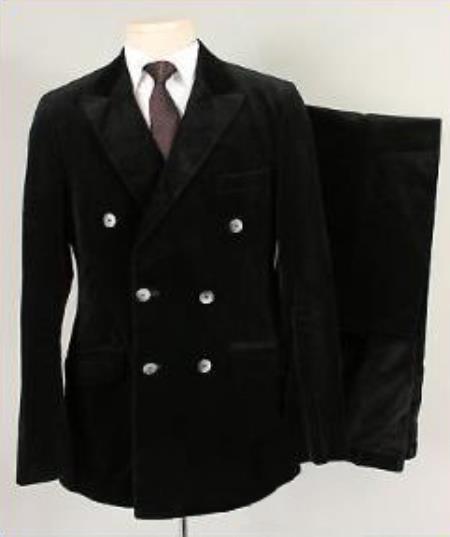 Mens Alberto Nardoni Black Velvet ~ Velour Suit (Blazer & Pants)