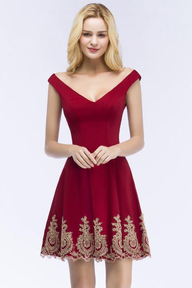 ROSE   Una linea de escote en V corto apliques fuera del hombro vestidos de fiesta de Borgoña