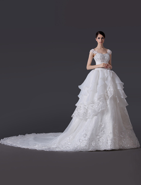 Milanoo A-line Off-The-Shoulder Bow Organza Ivory Bridal Wedding Gown