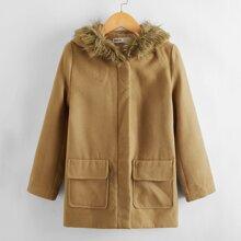Girls Faux Fur Hoodie Flap Pocket Coat