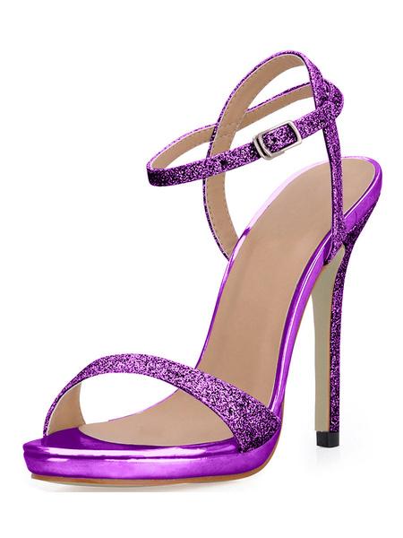 Milanoo High Heel Sandals Womens Silver Sequined Open Toe Slingback Stiletto Heels Sandals
