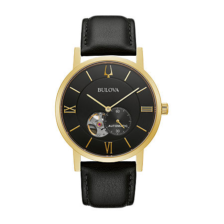 Bulova American Clipper Mens Black Leather Strap Watch-97a154, One Size , No Color Family