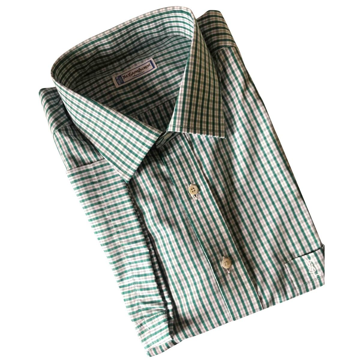 Yves Saint Laurent \N Green Cotton Shirts for Men 43 EU (tour de cou / collar)