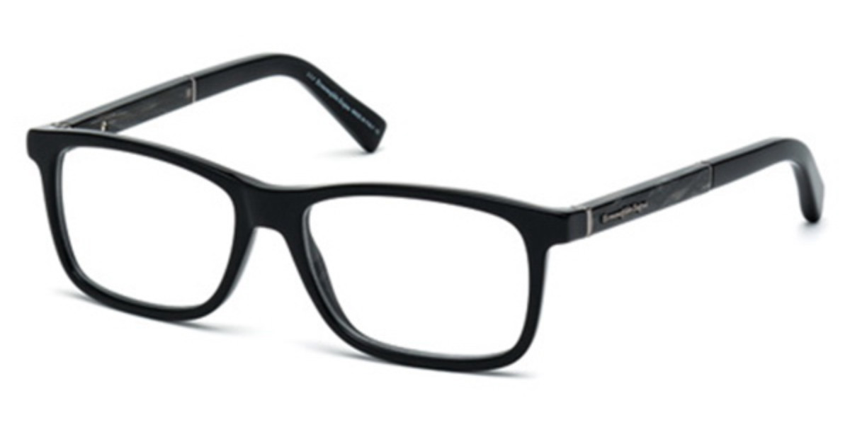 Ermenegildo Zegna EZ5013 005 Mens Glasses Black Size 55 - Free Lenses - HSA/FSA Insurance - Blue Light Block Available