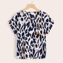 Leopard Print Roll Cuff Blouse