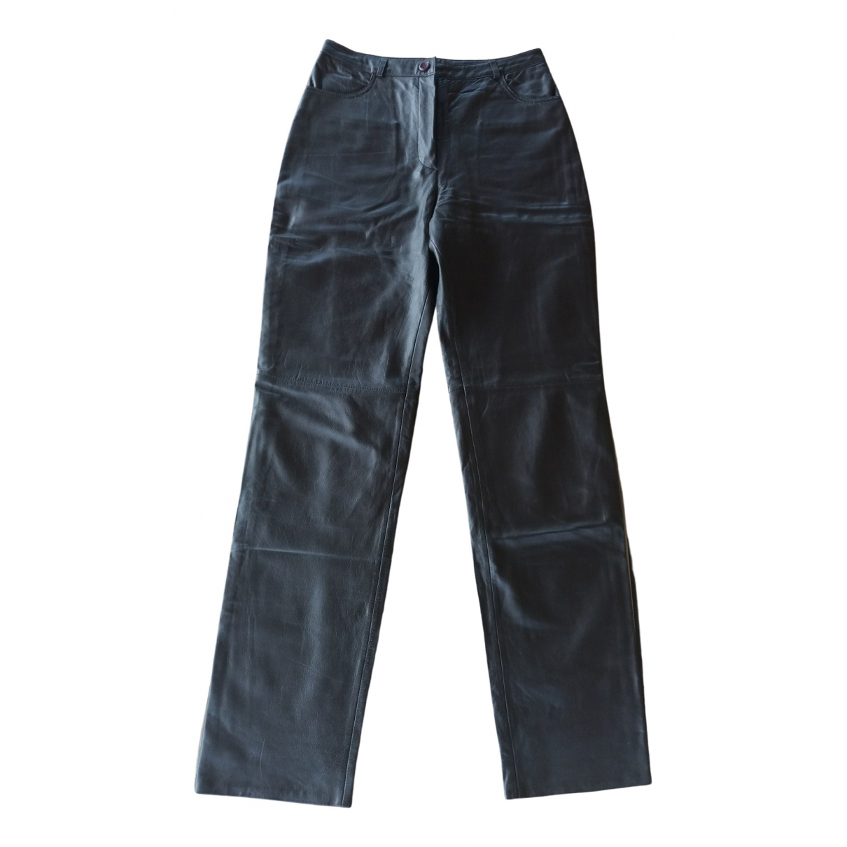 Non Signé / Unsigned \N Brown Leather Trousers for Women 44 FR