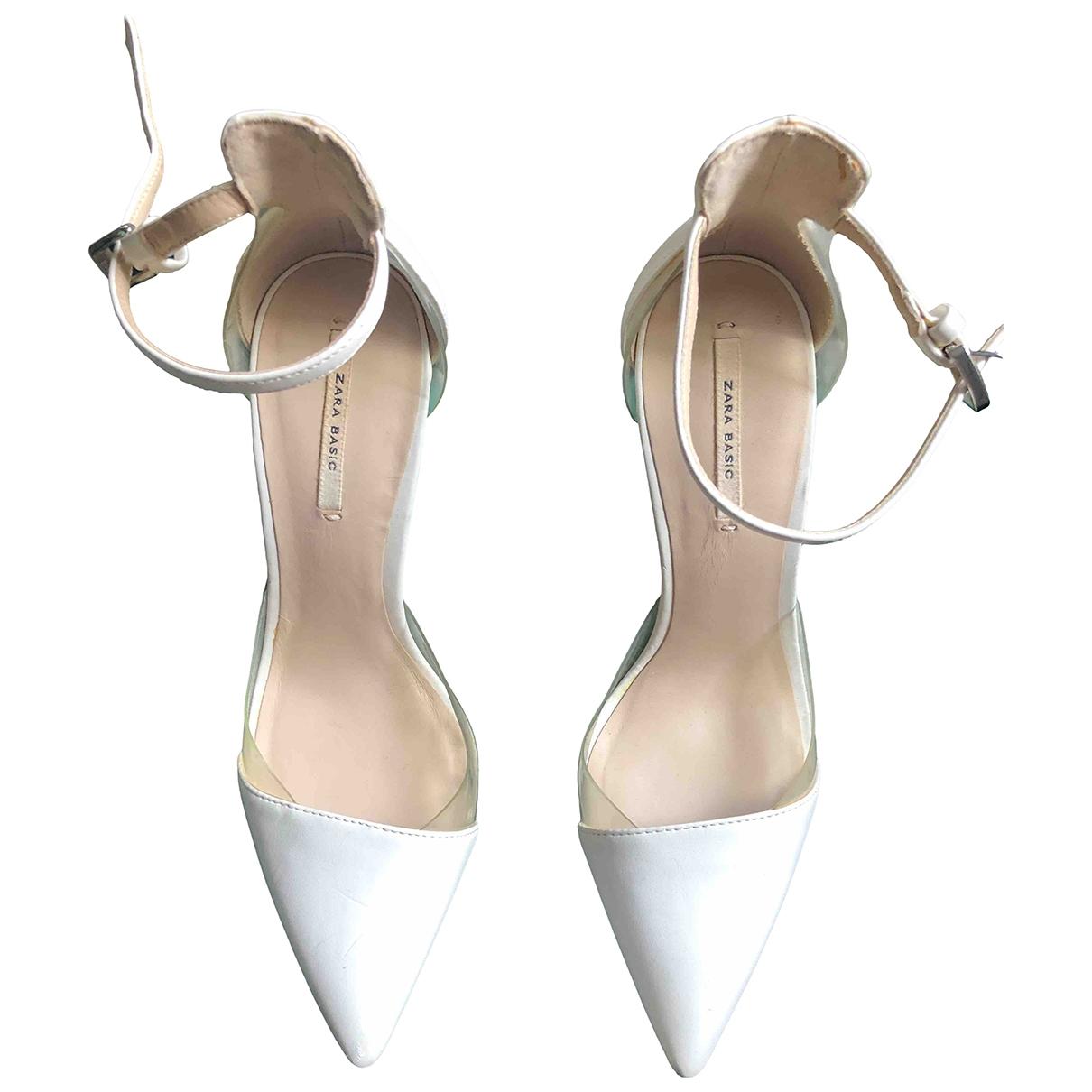 Zara - Escarpins   pour femme en cuir - blanc