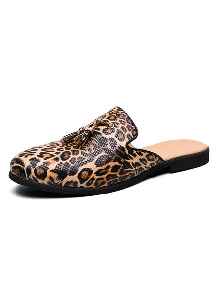 Milanoo Men\s Sandals Slip-On Artwork PU Leather Rubber Sole Leopard Men\s Sandals