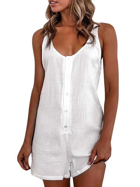 Milanoo White Straps Neck Sleeveless Buttons Cotton Blend Straight Summer One Piece Outfit