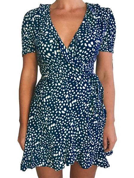 Yoins Casual Polka dot Belt Wrap design V-neck Short sleeves Dress