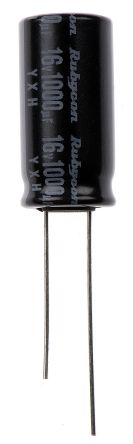 Rubycon 1000μF Electrolytic Capacitor 16V dc, Through Hole - 16YXH1000MEFC10X20 (5)