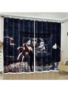 3D Horror Halloween Decor Ghost Printed 2 Panels Living Room Window Curtain