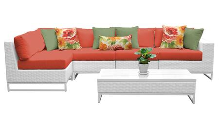 Miami MIAMI-06d-TANGERINE 6-Piece Wicker Patio Furniture Set 06d with 1 Corner Chair  3 Armless Chairs   1 Coffee Table and 1 Left Arm Chair  - Sail