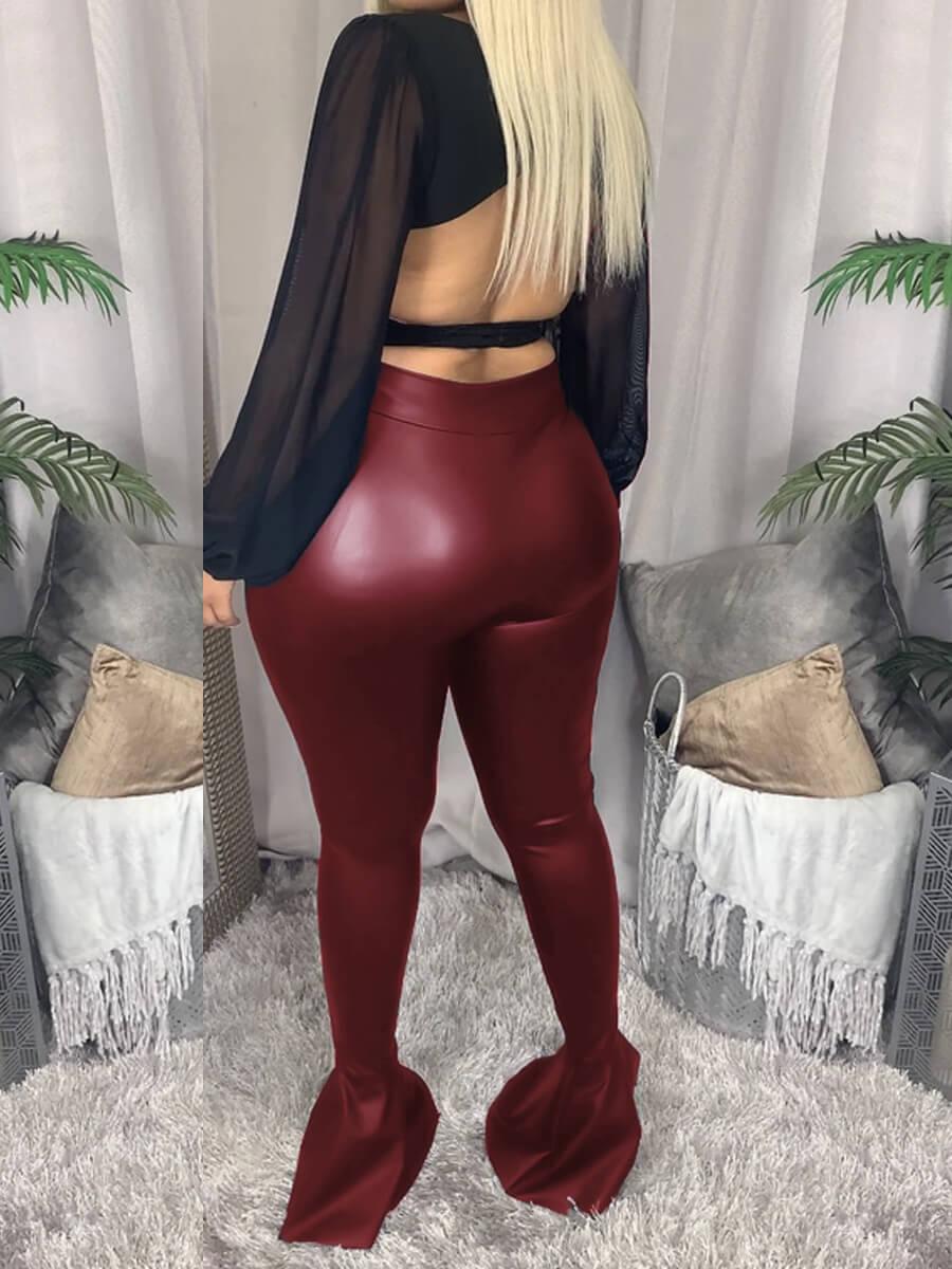 LW Lovely Street Flare Design Basic Skinny Wine Red Pants