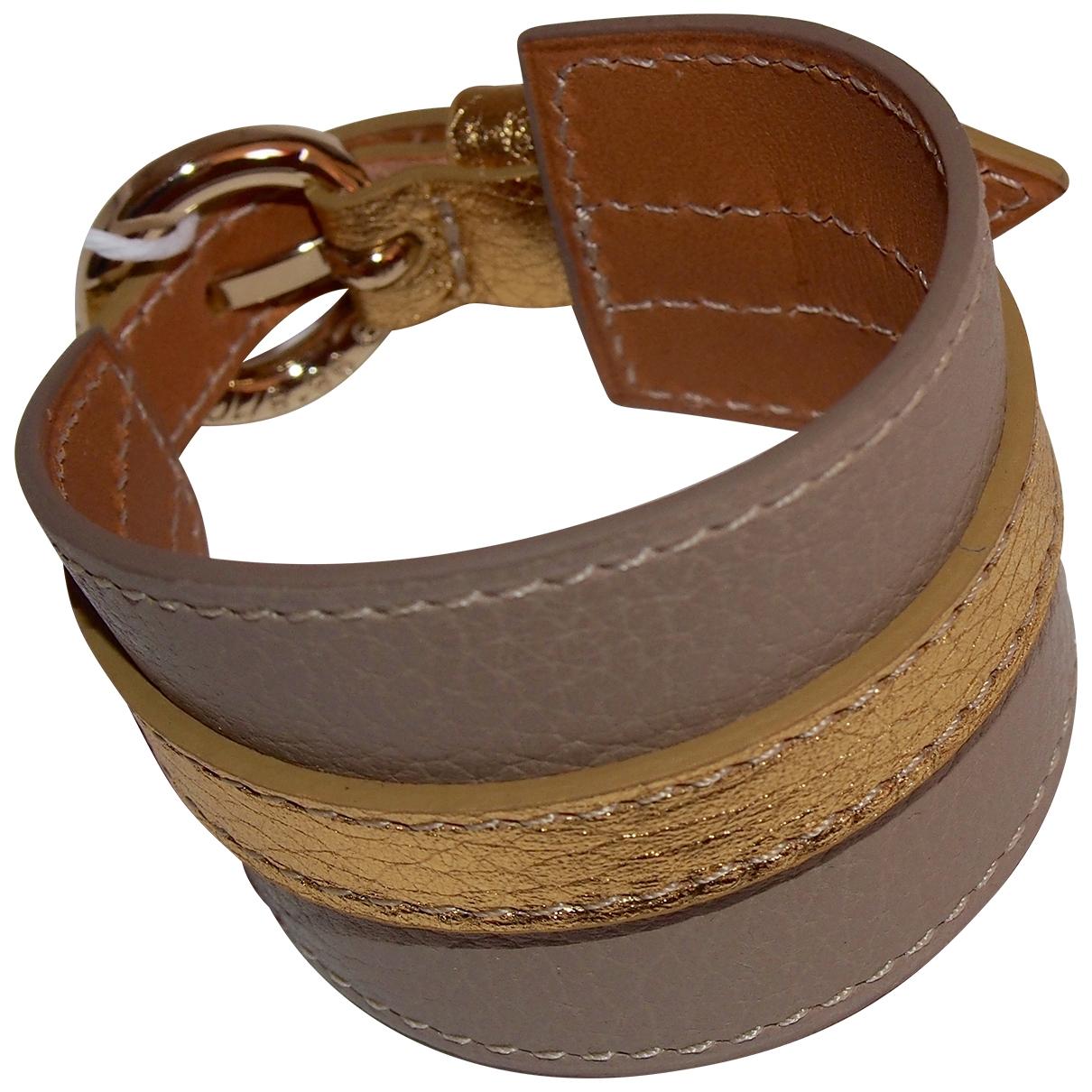 Non Signé / Unsigned Manchette Beige Leather bracelet for Women \N