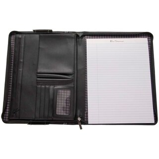 Ben Sherman Faux Leather Zip Around Lefty / Righty Padfolio Business Writing Pad (Black)