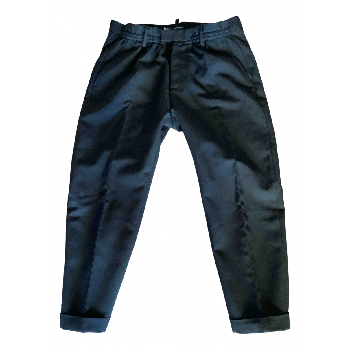 Dsquared2 \N Black Wool Trousers for Men 46 IT