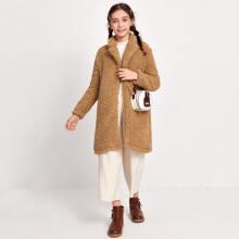 Girls Open Front Teddy Coat