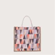 Colorblock Geo Satchel Bag