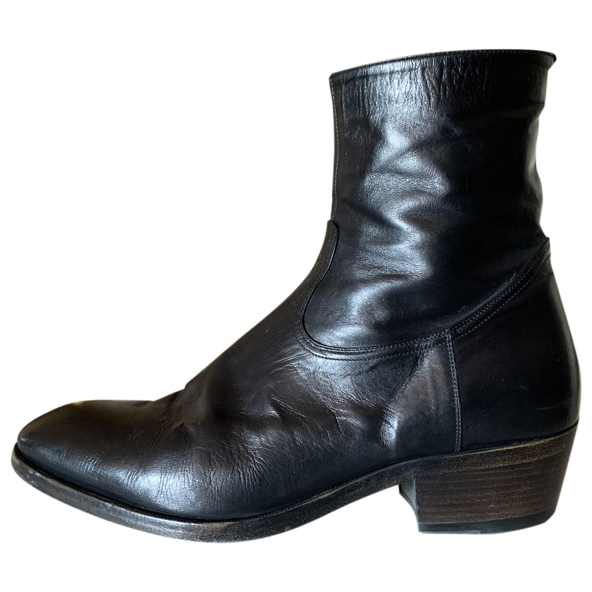 Non Signé / Unsigned \N Black Leather Boots for Men 41 EU