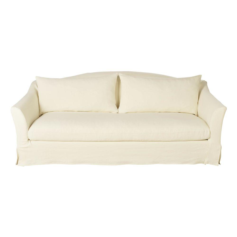 3/4-Sitzer-Sofa mit dickem elfenbeinfarbenem Leinenbezug Anaelle