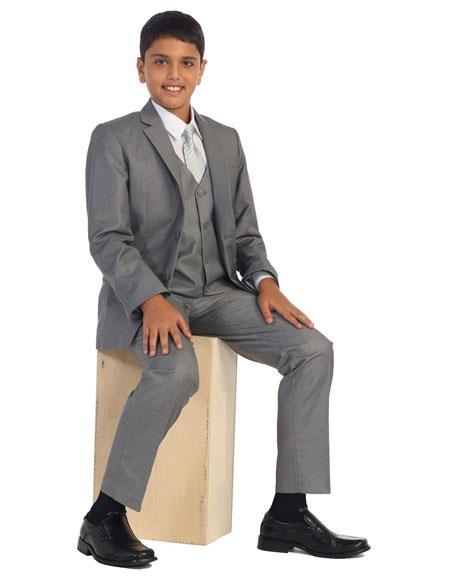 Kids Boys Two Buttons 5 Piece Set Gray Cotton Blend Formal Suit