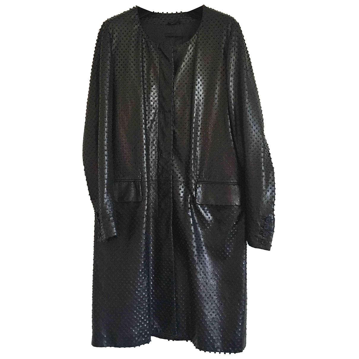 Helmut Lang - Manteau   pour femme en cuir - noir